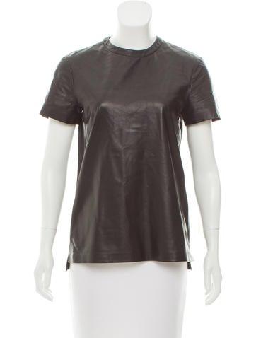 Proenza Schouler Leather Short Sleeve Top None