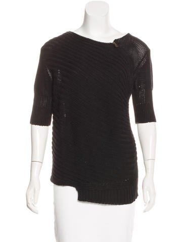 Proenza Schouler Zip-Accented Rib Knit Sweater None