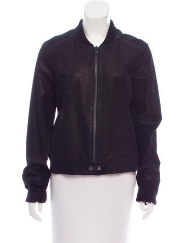Proenza Schouler Knit-Trimmed Leather Jacket None