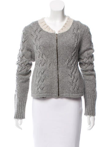 Proenza Schouler Cable Knit Zip-Up Cardigan None
