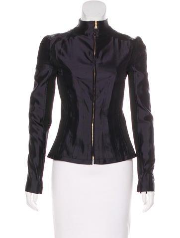 Proenza Schouler Silk Zip-Up Jacket None