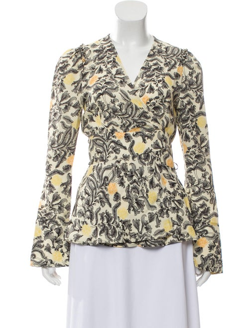 Proenza Schouler Floral Wrap Top Cream