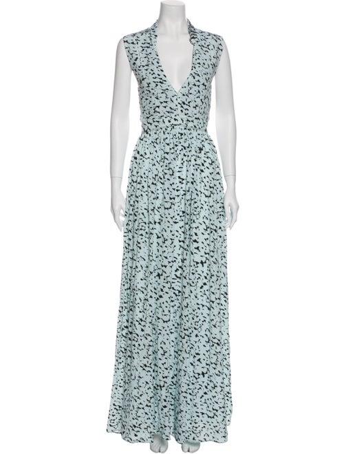 Proenza Schouler Printed Long Dress Blue