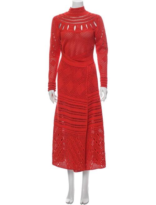 Proenza Schouler Turtleneck Long Dress Orange