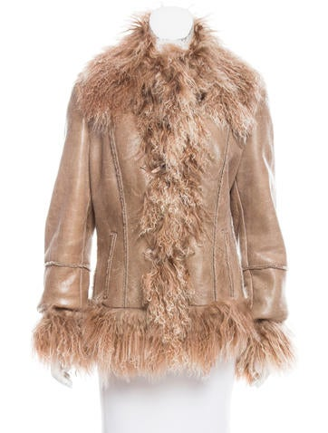 Pashaveneto Shearling-Trimmed Leather Coat None