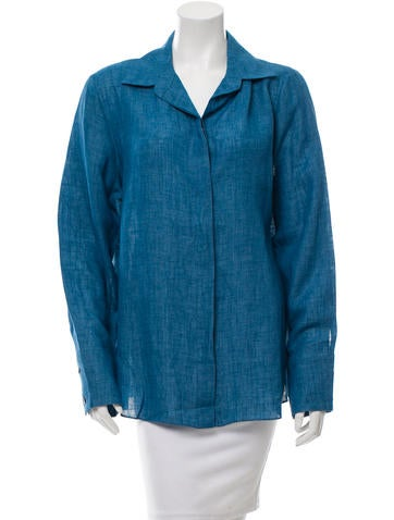 Peter Cohen Chambray Button-Up Top