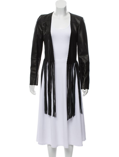ThePerfext Leather Fringed Jacket Black