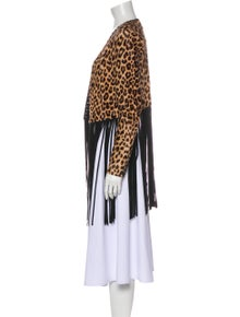 ThePerfext Leather Animal Print Jacket