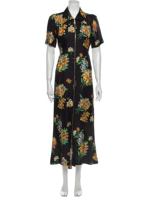 Raey Silk Long Dress Black