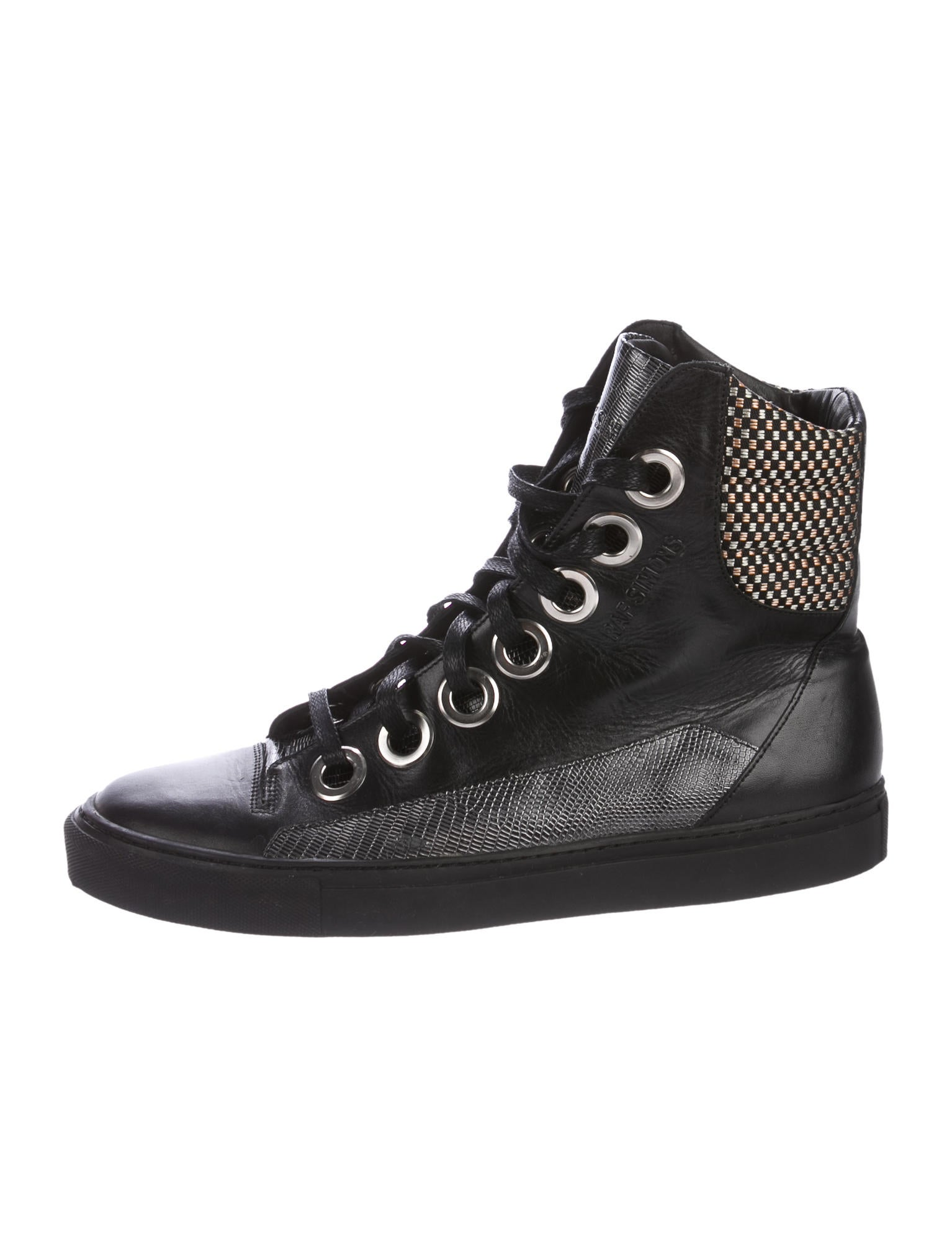 raf simons leather high top sneakers shoes raf20374. Black Bedroom Furniture Sets. Home Design Ideas