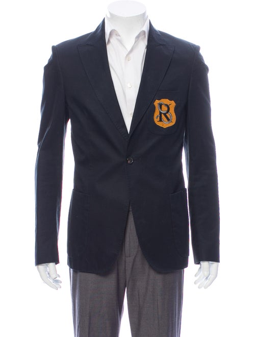 Raf Simons Embroidered Accent Sport Coat Blue