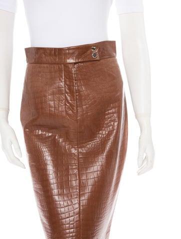 Ralph Lauren Embossed Leather Skirt
