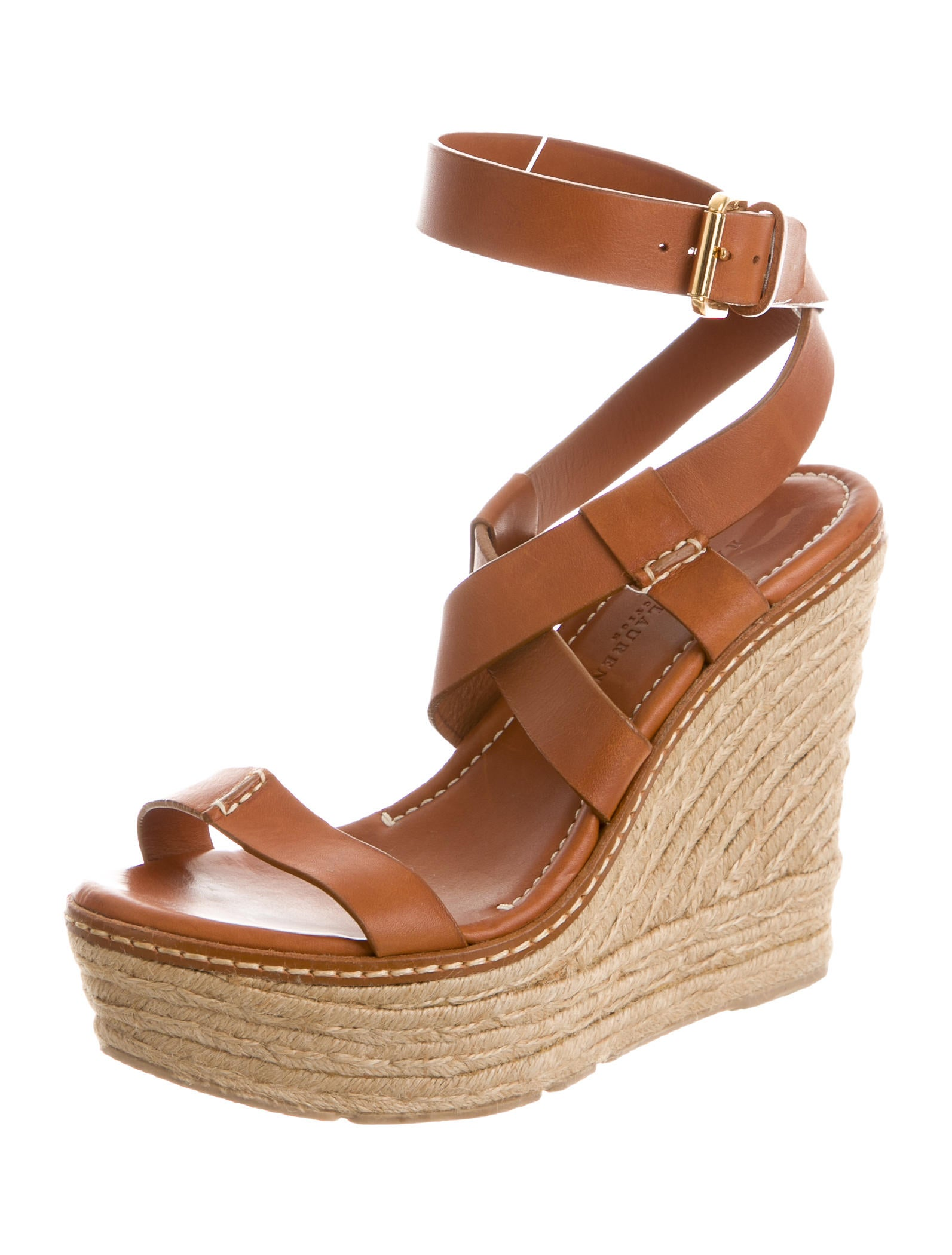 ralph lauren collection leather espadrille wedges shoes ral21173 the realreal. Black Bedroom Furniture Sets. Home Design Ideas