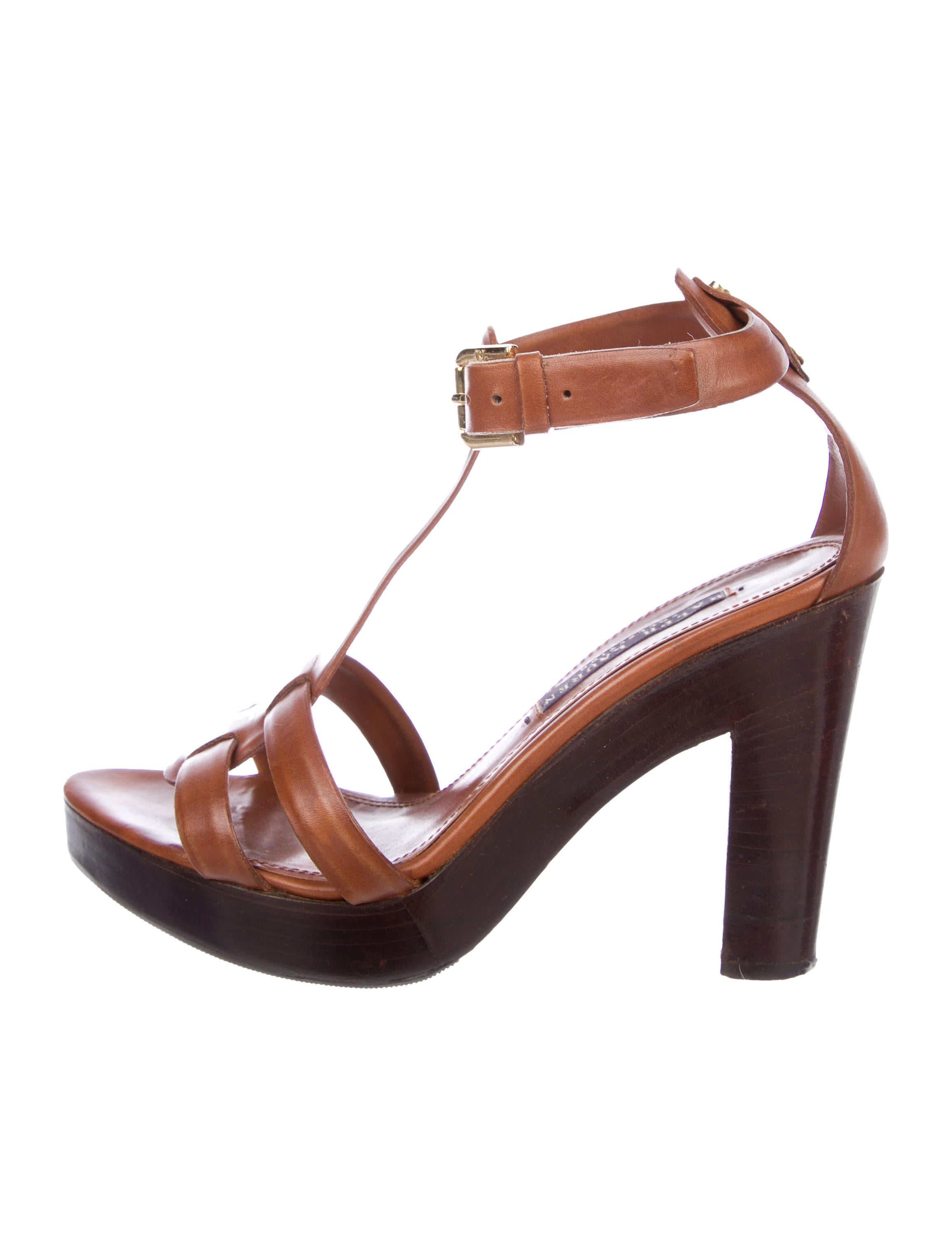 Ralph Lauren Collection Leather T-Strap Sandals buy cheap high quality V0CIl
