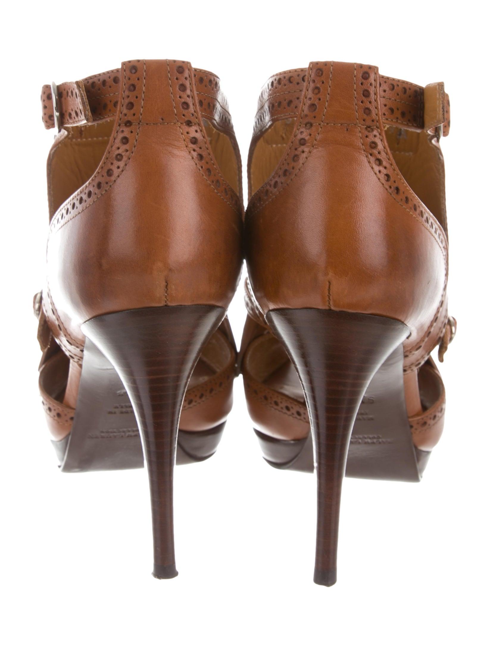 Ralph Lauren Collection Kiltie Peep-Toe Booties free shipping online Grey outlet store online prices sale online XJENB