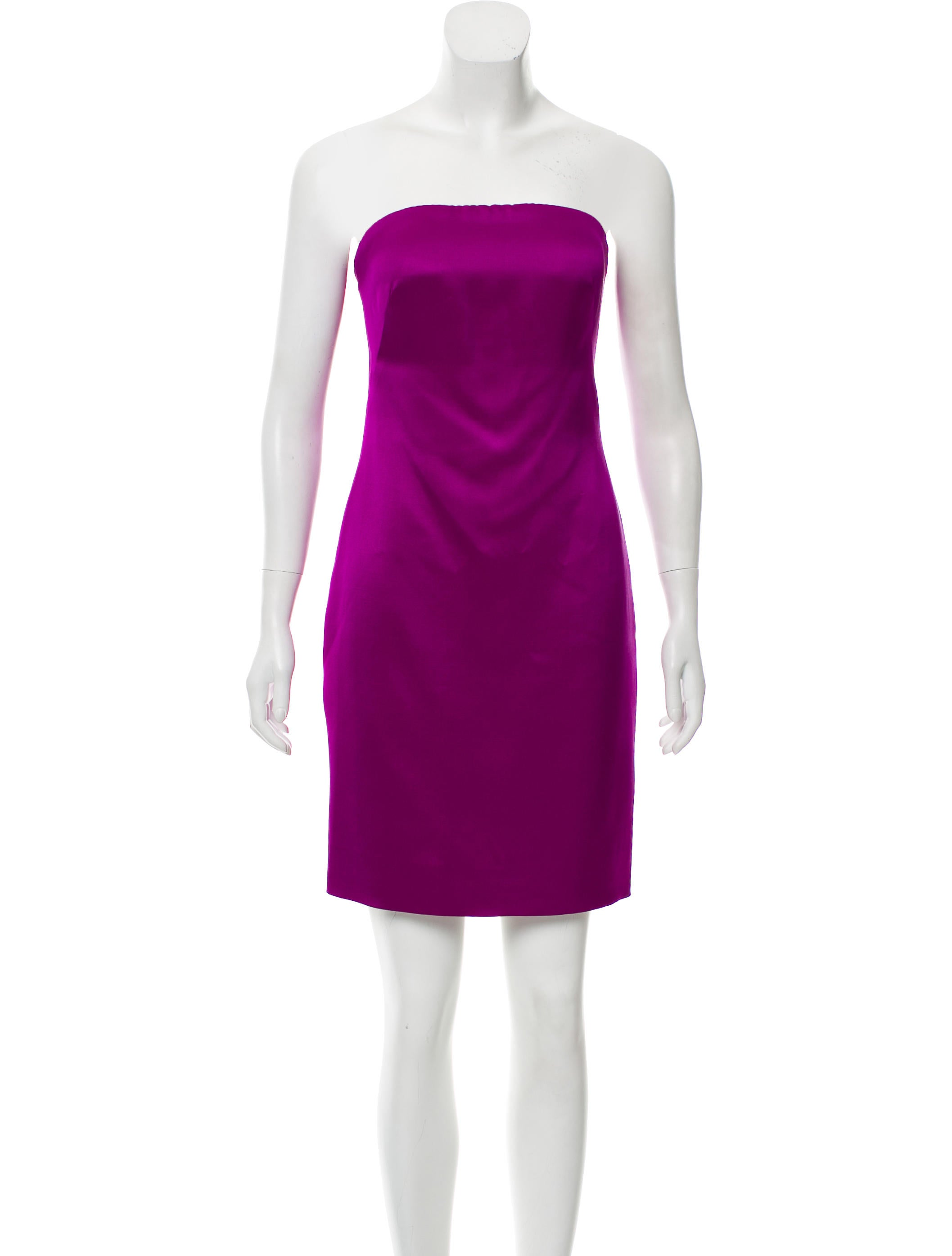 857b08ae499 Ralph Lauren Collection Strapless Satin Dress - Clothing - RAL23917 ...