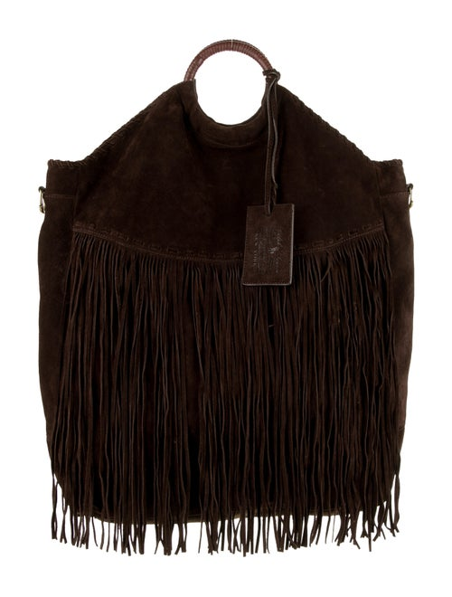 Ralph Lauren Collection Suede Fringe Satchel Bag g