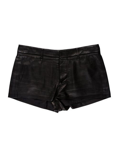 Ralph Lauren Collection Leather Mini Shorts Black