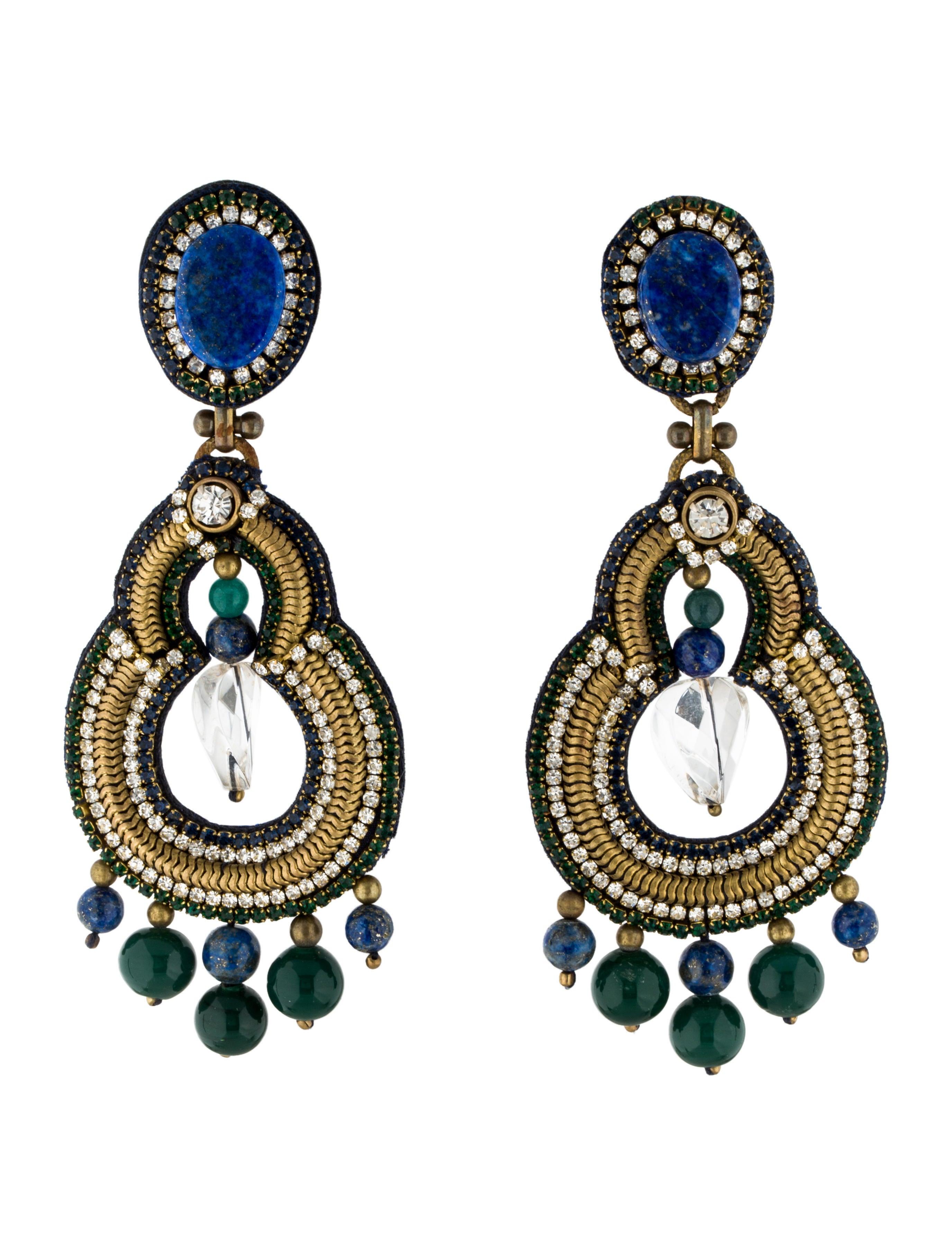 Ranjana khan lapis crystal chandelier earrings earrings lapis crystal chandelier earrings arubaitofo Images