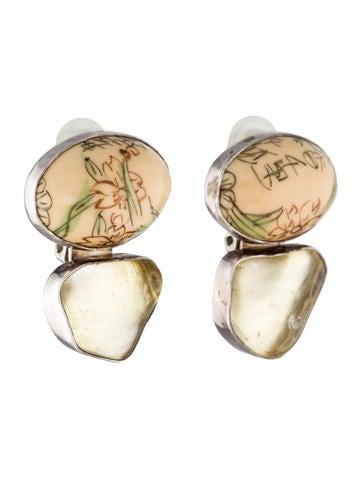 Resin and Quartz Earrings