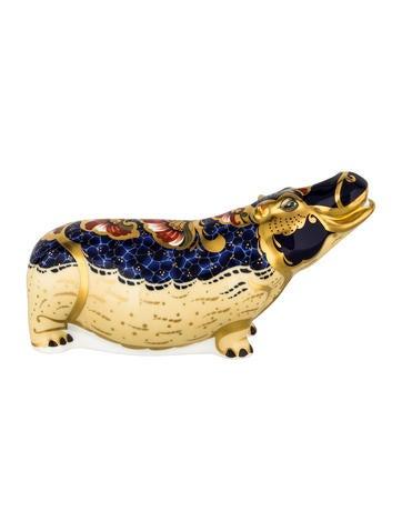 Royal Crown Derby Imari Hippopotamus Paperweight None