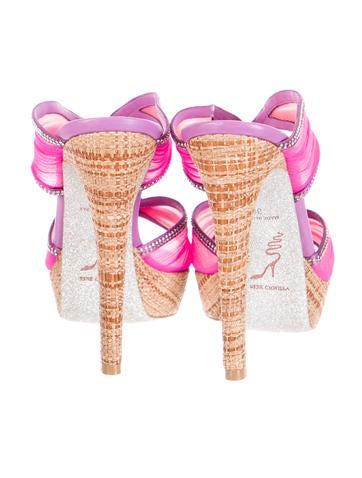 Embellished Mesh-Trimmed Sandals w/ Tags