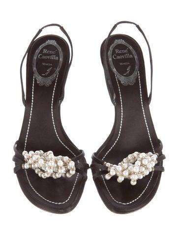 Satin Embellished Sandals