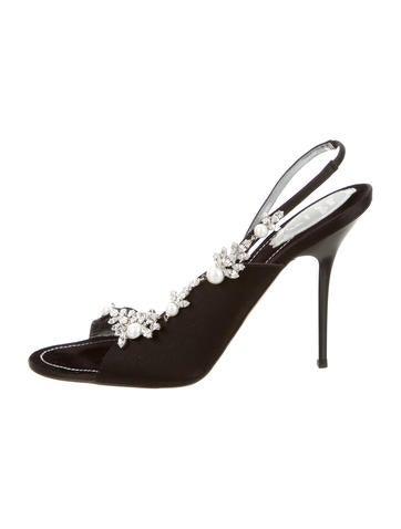 Jewel-Embellished Slingback Sandals