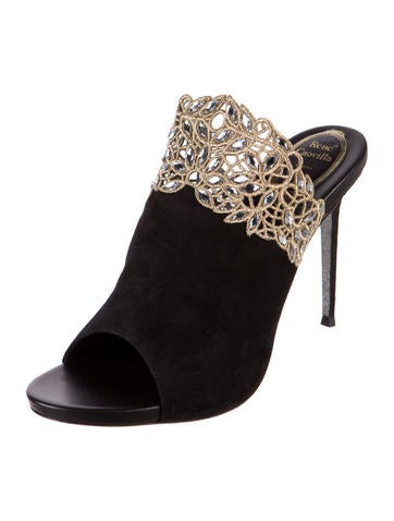 Crystal Embellished Suede Mules w/ Tags