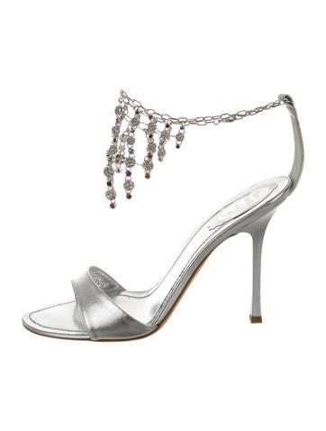 Metallic Jewel-Embellished Sandals