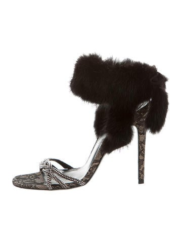 Rene Caovilla Mink-Trimmed Sandals None