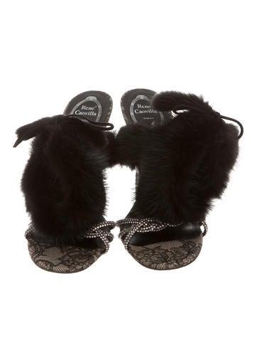 Mink-Trimmed Sandals