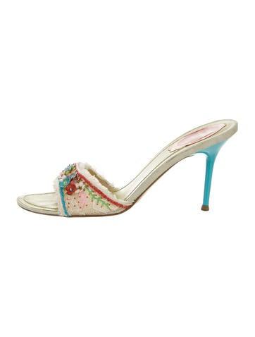 Rene Caovilla Lace Slide Sandals