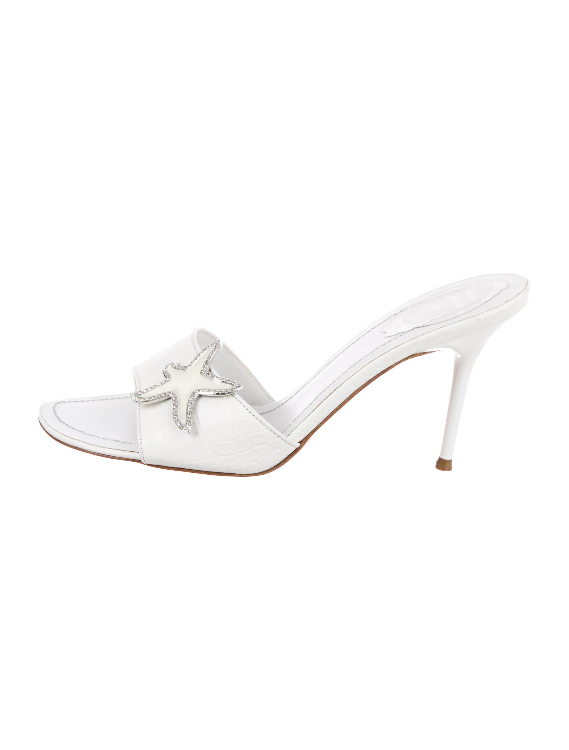René Caovilla Embossed Slide Sandals 2015 for sale dSaXRdLJ