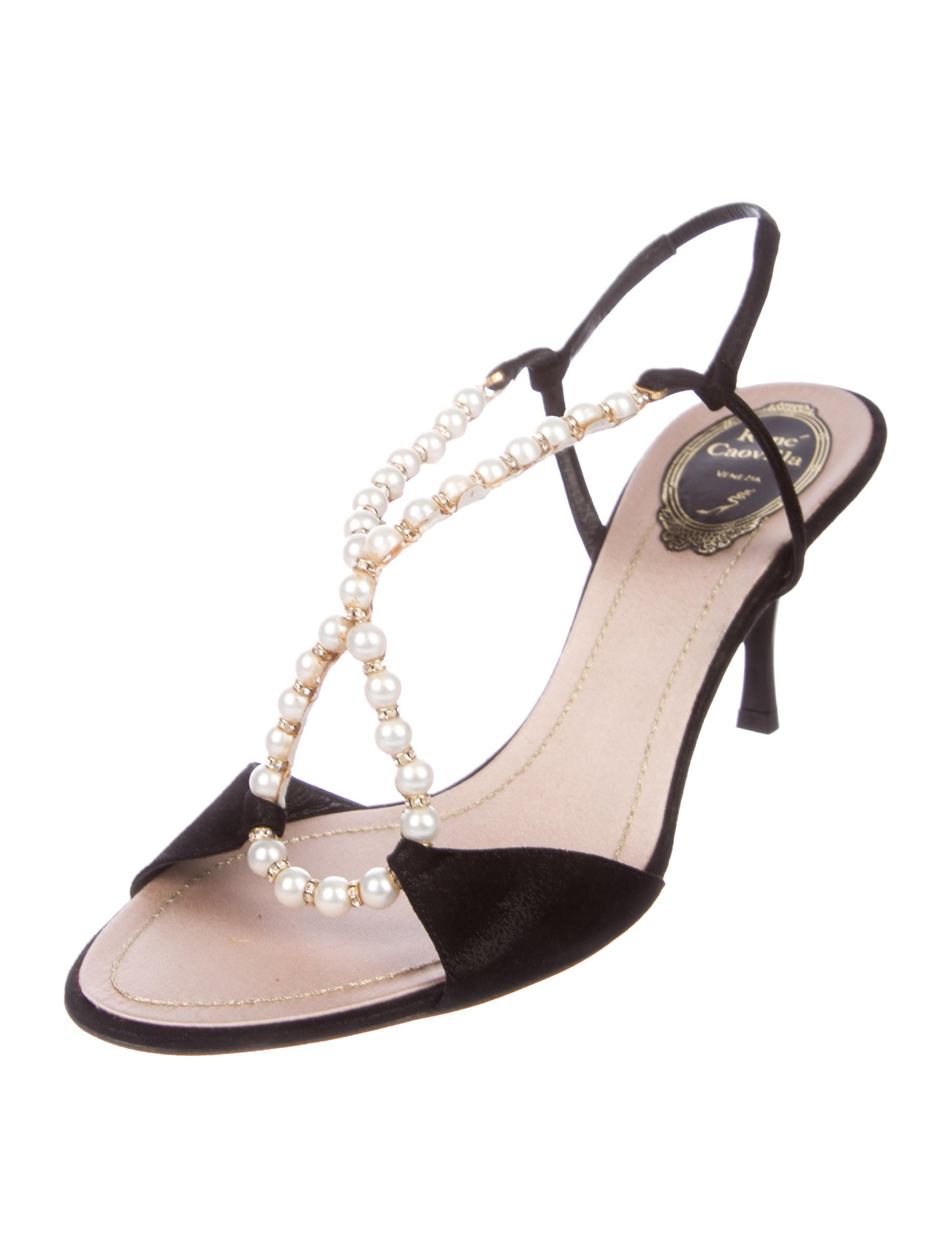 cost for sale René Caovilla Embellished Slingback Sandals w/ Tags cheap price discount authentic big discount for sale 100% guaranteed sale online tBuveM