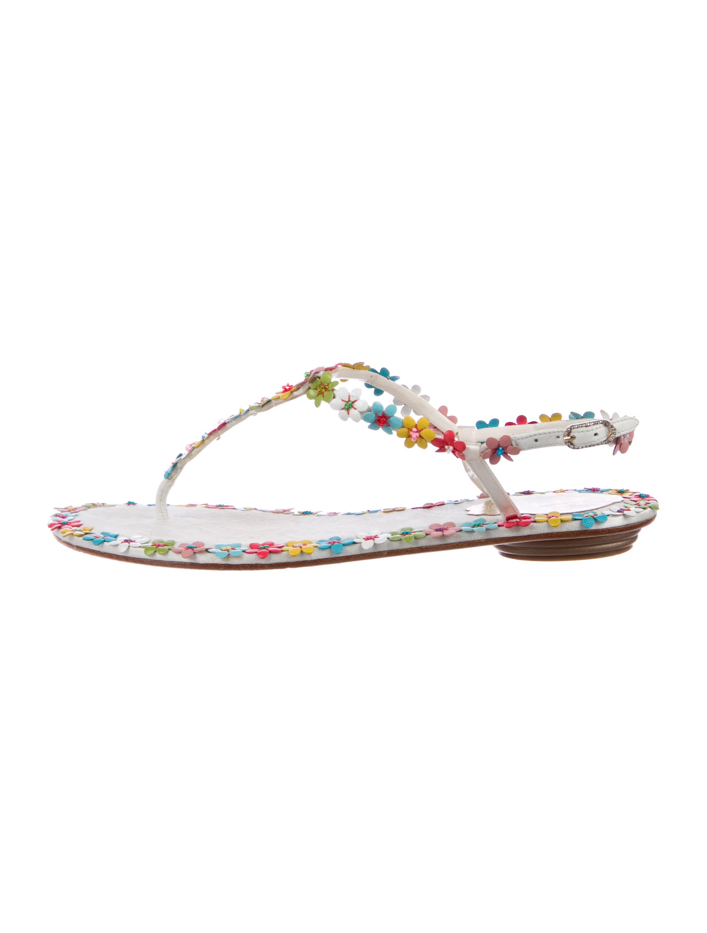 723c244e5bc978 Rene Caovilla Floral-Embellished Thong Sandals - Shoes - REC23084 ...