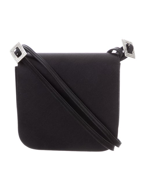 René Caovilla Satin Crossbody Bag Black