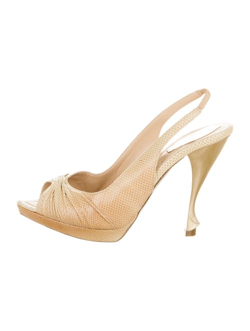 René Caovilla Leather Slingback Pumps