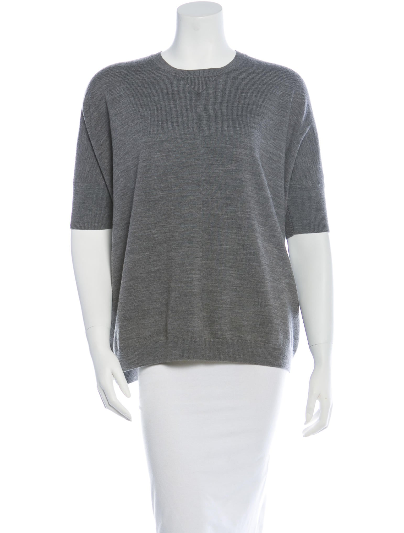 Reed krakoff merino wool short sleeve sweater clothing for Merino wool shirt womens