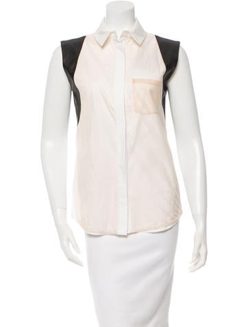 Reed Krakoff Leather-Trimmed Button-Up Top