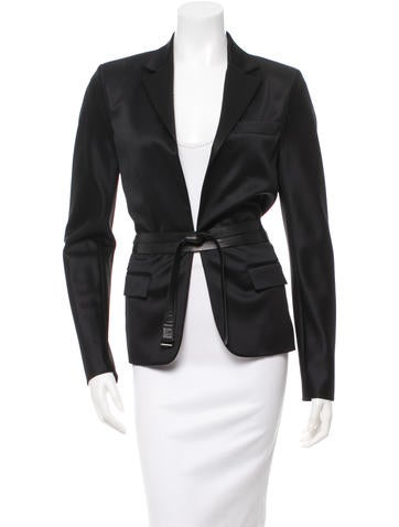 Reed Krakoff Leather-Trimmed Wool Blazer w/ Tags None