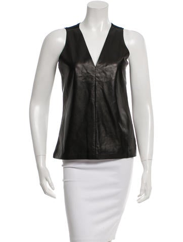 Reed Krakoff Leather-Trimmed Sleeveless Top None