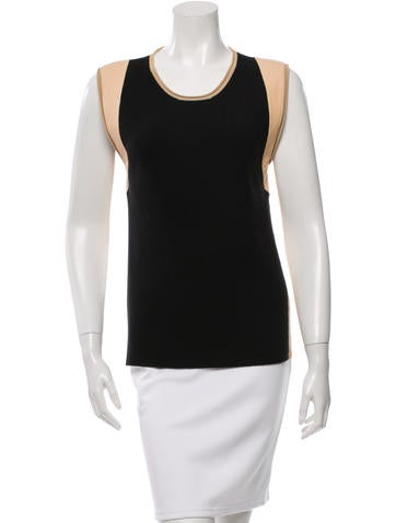 Reed Krakoff Leather-Trimmed Sleeveless Top w/ Tags None