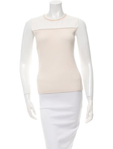 Reed Krakoff Leather-Trimmed Wool and Cashmere-Blend Top None
