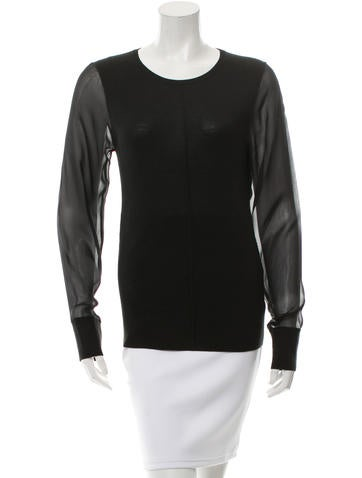 Reed Krakoff Chiffon Accented Knit Top None