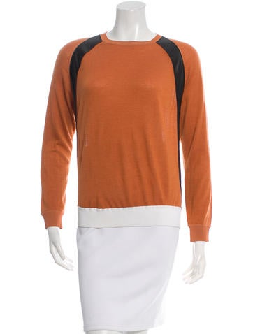 Reed Krakoff Leather-Trimmed Colorblock Sweater None