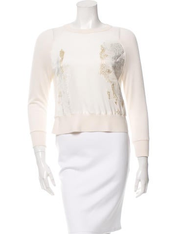 Reed Krakoff Silk-Accented Wool & Cashmere-Blend Top None