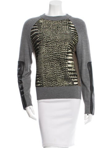 Reed Krakoff Leather-Paneled Snakeskin Print Top None