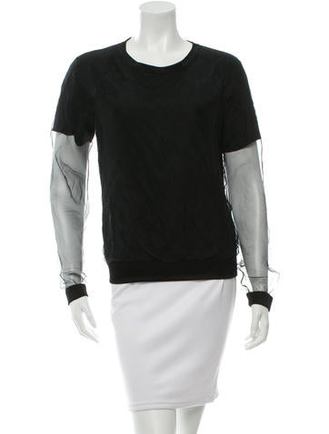 Reed Krakoff Sheer-Paneled Silk Sweatshirt None