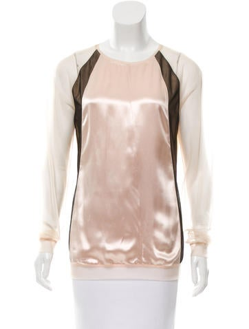 Reed Krakoff Sheer-Accented ColorblockTop None